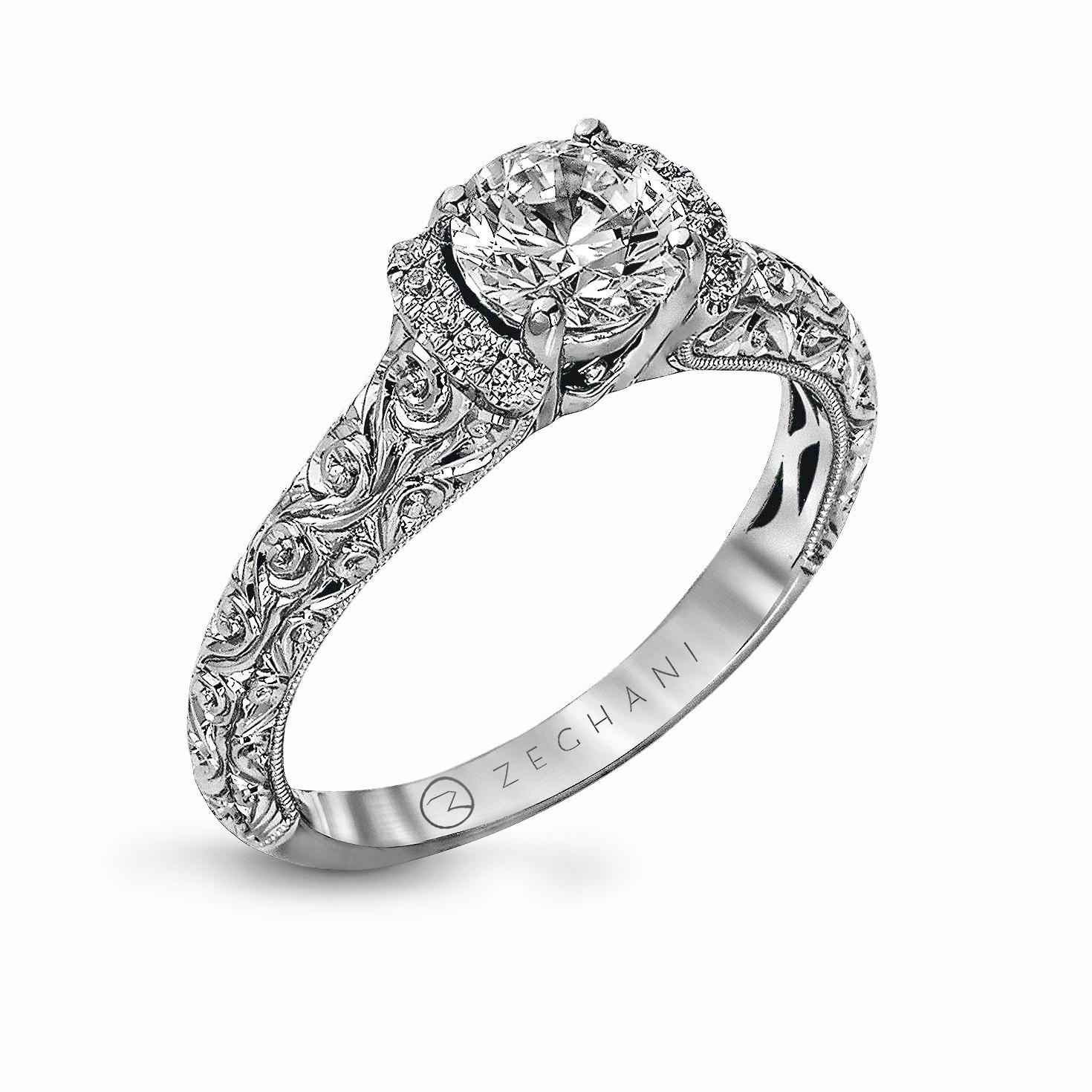 14karat White Gold Engagement Ring 07d Beverlys Jewelers