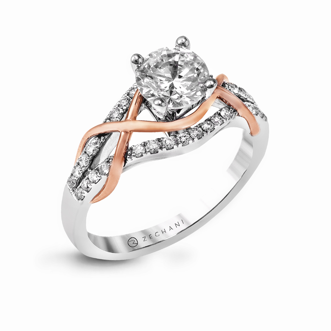 14karat White And Rose Gold Engagement Ring 25d Beverlys Jewelers