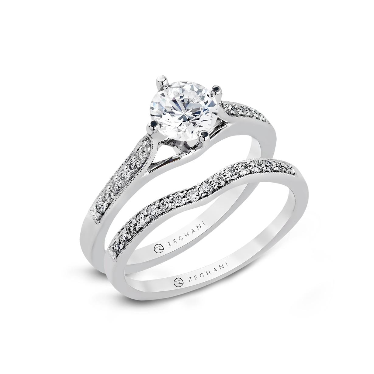 14karat White Gold Wedding Set 21d Beverlys Jewelers